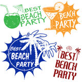 Set of beach party stamps Royalty Free Stock Photography