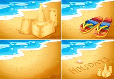 Set of beach scenes. Illustration royalty free illustration