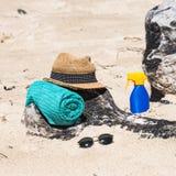 Set for a beach stock photos