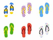 Set of Beach Slippers icon in flat style  on white background. Vector Stock Photography