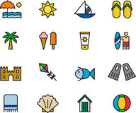 Set of beach and summer icons Stock Photos
