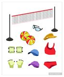 Set of Beach Volleyball Equipment on White Background Stock Images