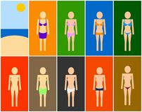 Set of beach women symbols Stock Photos