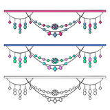 Set Of Beads. Colored and uncolored pendants. Isolated vector illustration Royalty Free Stock Image