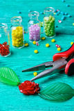 Set of beads for decorations Stock Photography