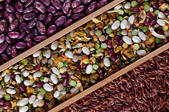 Set of beans, rice, lentils, spices for cooking Royalty Free Stock Photo