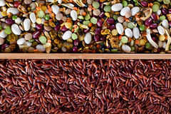 Set of beans, rice, lentils, spices for cooking Royalty Free Stock Images