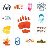 Set of bear paw, fight club, speedometer, s hexagon, fried chicken, woodwork, chick, jellyfish, truck company icons. Set Of 13 simple  icons such as bear paw Royalty Free Stock Photos
