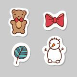 Set of bear, ribbon,leaf, snow man. Sticker set for your web design. Xmas holiday. Happy New Year. Set of bear, ribbon,leaf, snow man. Sticker set for your web Stock Image