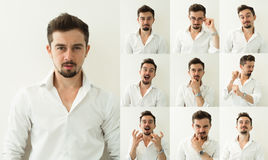 Set of bearded man expressions on grey background. Young man with multiple face expressions Stock Images