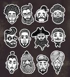 Set of men faces of differen with different ethnics haircuts, mustaches, beards. No shave November. stock illustration