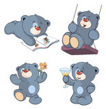 A set of bears cartoon. A  set of various small blue bears Royalty Free Stock Photo