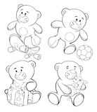 A set of bears. Coloring book stock illustration