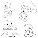 A set of bears. Coloring book. Set of various bears for painting Stock Photo