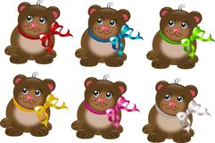 Set of bears with ribbons Stock Photo