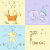 Set of 3 bears Stock Images