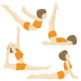 Set of beatiful girl practicing yoga postures Royalty Free Stock Images
