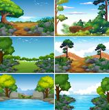 Set of Beatiful Green Nature Landscape. Illustration stock illustration