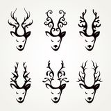 Set of beautiful abstract deer Stock Photo