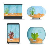 Set beautiful aquariums icons. Vector illustration design Stock Image