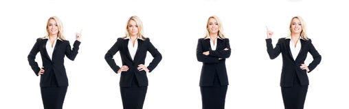 Set of beautiful, attractive businesswoman isolated on white. Bu Stock Photo