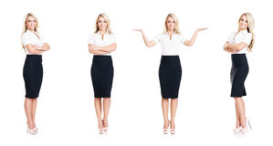 Set of beautiful, attractive businesswoman isolated on white Stock Photography