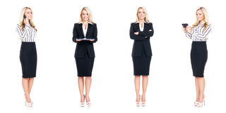 Set of beautiful, attractive businesswoman isolated on white. Business, career success concept. Royalty Free Stock Image