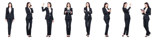 Set of beautiful, attractive businesswoman isolated on white. Business, career success concept. Stock Image