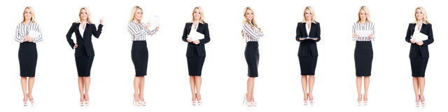 Set of beautiful, attractive businesswoman isolated on white. Royalty Free Stock Photos
