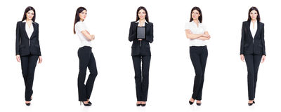 Set of beautiful, attractive businesswoman isolated on white. Business, career success concept. Royalty Free Stock Photography