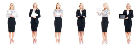 Set of beautiful, attractive businesswoman isolated on white. Business, career success concept. Royalty Free Stock Photos