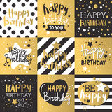 Set of beautiful birthday invitation cards decorated with colorful balloons, cakes and cartoon elephant. Stock Photo