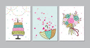 Set of beautiful birthday, love, congratulation invitation cards decorated with colorful bouquet , cakes and umbrella. Set of beautiful birthday, love vector illustration