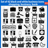 Set of beautiful black and white business icons Royalty Free Stock Images