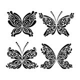 Set of beautiful black and white butterfly tattoo Royalty Free Stock Images