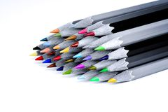Set beautiful black and white of color pencils white background Royalty Free Stock Photos