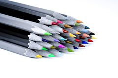 Set beautiful black and white of color pencils white background Royalty Free Stock Photography