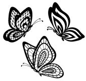 set of beautiful black and white guipure lace butterflies Stock Image