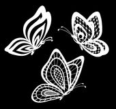 Set of beautiful black and white guipure lace butterflies . Stock Photo