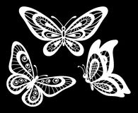 Set of beautiful black and white guipure lace butterflies . Stock Photos