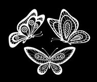 Set of beautiful black and white guipure lace butterflies . Royalty Free Stock Images