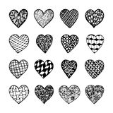Set of beautiful black and white hand drawn monochrome hearts isolated. Royalty Free Stock Photography
