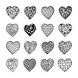 Set of beautiful black and white hand drawn monochrome hearts isolated. Royalty Free Stock Image