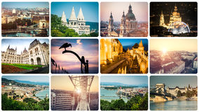 Set of beautiful buildings and sights of Budapest Stock Images