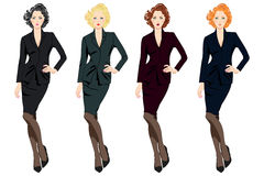 Set of beautiful business women in suits Royalty Free Stock Photo