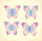 Set of beautiful butterflys. Hand drawn doodle animal. Royalty Free Stock Photography