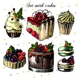 Set of beautiful cakes and cupcakes Royalty Free Stock Image