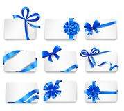 Set of beautiful cards with blue gift bows. With ribbons. Vector illustration Stock Photography