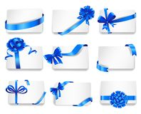 Set of beautiful cards with blue gift bows. With ribbons. Vector illustration Stock Photo