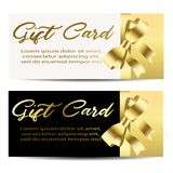 Set of beautiful cards with gold gift bows with. Ribbons. Vector illustration Royalty Free Stock Photos
